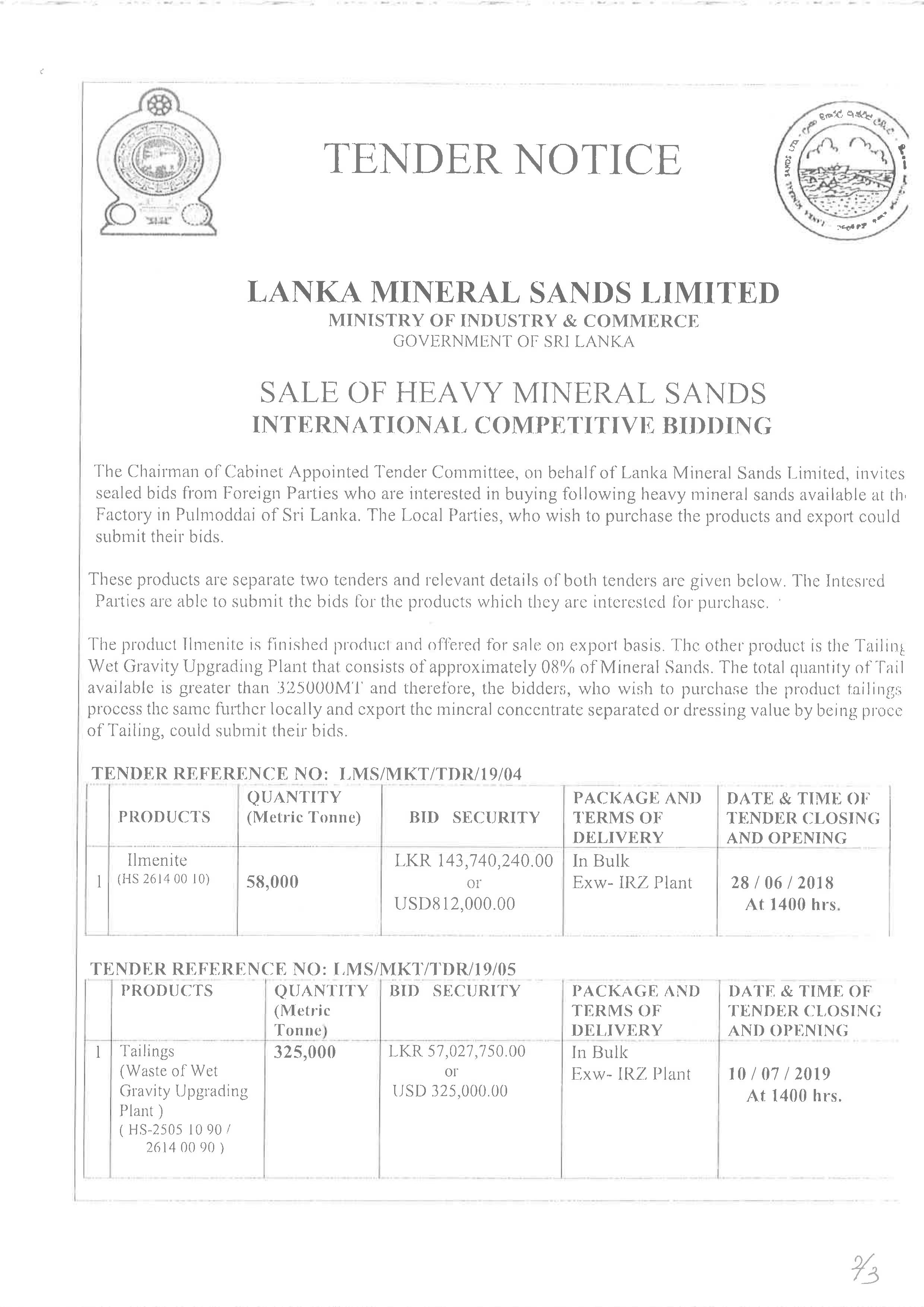 Sale of Heavy Mineral Sands.2